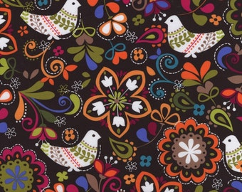 UK Shop: Birds of Norway Espresso Michael Miller Cotton Fabric