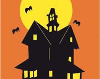 Haunted House Handcrafted Applique House Flag
