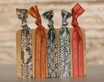 I'm A Slave For You Snakeskin Elastic Hair Ties Ponytail Holders Yoga Hair Band No Crease Knotted Hair Tie