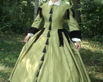 READY-TO-SHIP sz 8-10 Civil war re-enacting carriage walking day dress Marmee March Gone-with-the-wind costume with under sleeves & collar