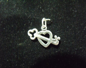 Sterling Silver Heart with Key Charm/Pendant  - .925  1.1 grams