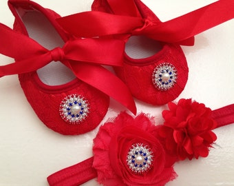 Red lace baby shoes and headband set, rhinestone crib shoes, first walker lace shoes, newborn red shoes, princess shoes, july 4th day shoes