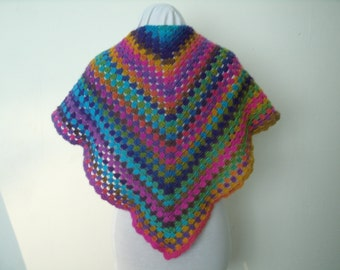 Crochet shawl with lots of color