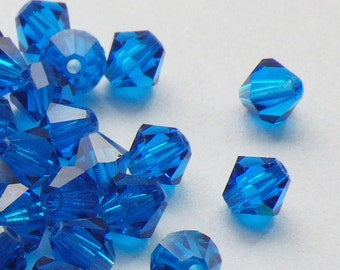 50 Vintage Swarovski Crystal Beads, 4mm Capri Blue Article 5301, 50 Vintage Crystal Beads, Blue Crystal Beads