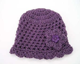 Baby Girl Hat, Purple Baby Hat, 3 to 6  months