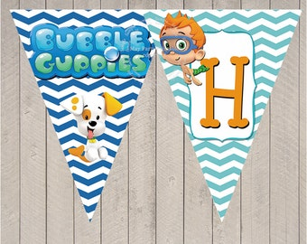 Items similar to bubble guppies birthday banner on etsy - Bubble guppies birthday banner template ...