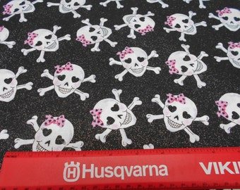 skulls with pink ribbons and sparkles craft fabric by the yard free shipping