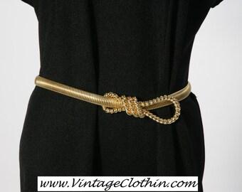 1970s – 1980s Signed Acessocraft NYC Snake Coil Gold Tone Stretch Belt, Snake Coil Belt, Vintage Belt