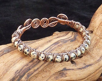Bangle - Copper and dalmatian jasper wire wrapped bangle