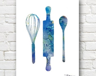 Rolling Pin Whisk Spoon Art Print - Abstract Watercolor Painting - Kitchen Art Wall Decor