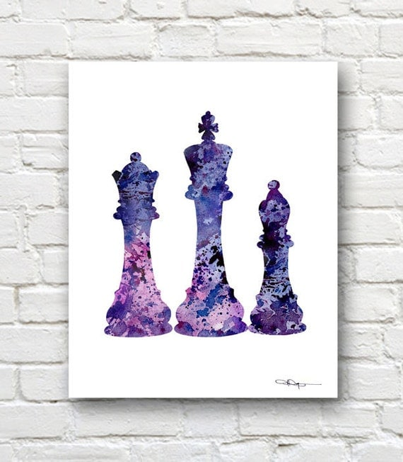 Chess Pieces Art Print Abstract Watercolor Painting Wall