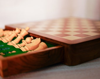 """Travelling 12"""" Magnetic Chess Set Now in Laquer Finish"""