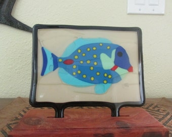 """Stained Glass Tile Picture """"Fishy Tastes"""" Fused Art"""