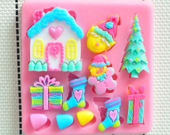 Mini ginger bread house mold, christmas mold, stocking, christmas tree, fondant mold, gumpaste mold, chocolate mold, candy mold, resin mold