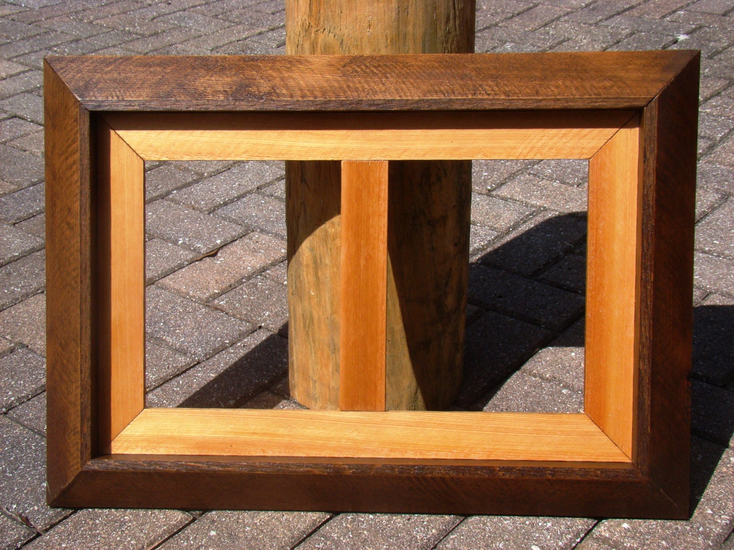 Rustic Cedar Wood Double Sided Picture Frame Handmade