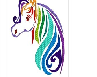 Magical Rainbow Horse Machine Embroidery Design