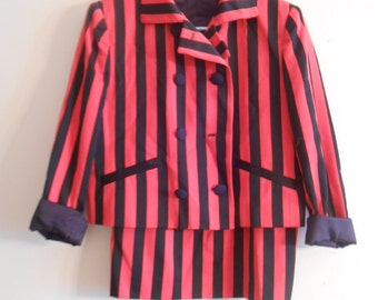 Vintage Evan-Picone Women's Bold Black and Red Striped Pencil Suit Size 10 Made in USA ~ Power Suit