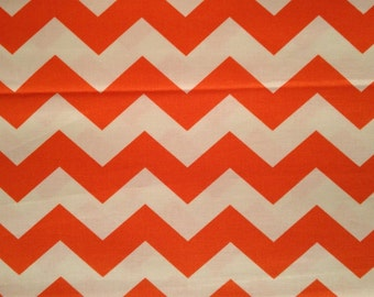 "1"" Chevron Zig Zag Orange and White by the yard"