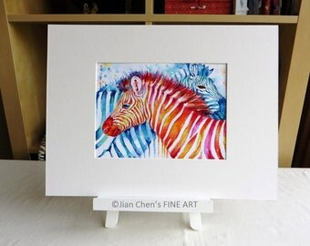 Small Mounted Print: zebras