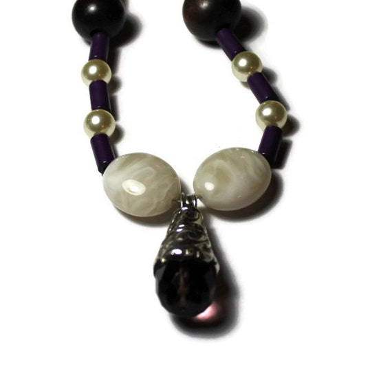 Purple, Cream and Brown Beaded Necklace with Silver and Purple Stone Pendant, Handmade, Reclaimed Jewelry, Upcycled Statement Jewelry