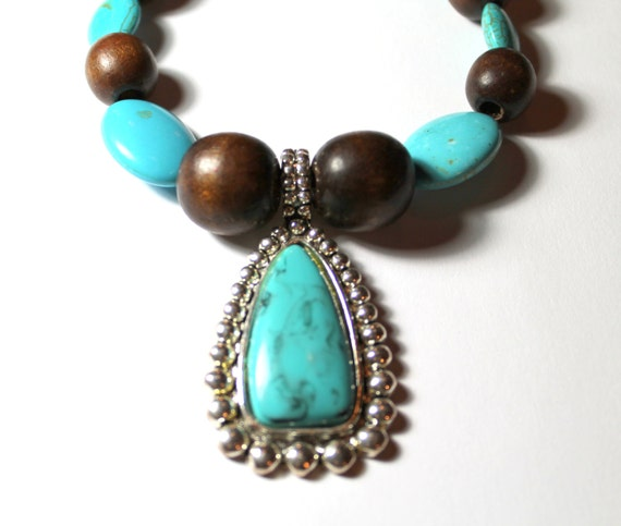 Brown and Turquoise Color Beaded Necklace with Turquoise Color and Silver Tone Pendant, Handmade Necklace, Southwestern Style Jewelry