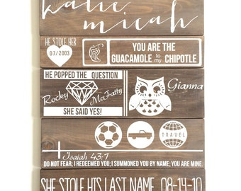 Love story board, wedding love story, wedding sign, wood wedding story board