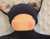 Waldorf-inspired soft toy, Navy blue kitty, Vinny