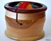 Hand Turned Pedestal  Honey Pot Yarn Bowl