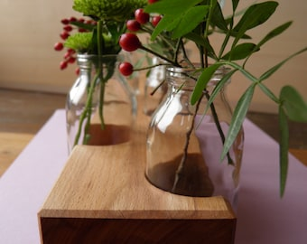 Wood flower vase, vase, flower vase, flower meadow, wood vase