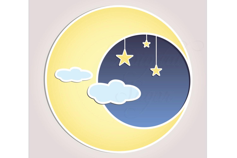 Sonne Mond Sterne Clip Art Vektor Baby Dusche Einladung