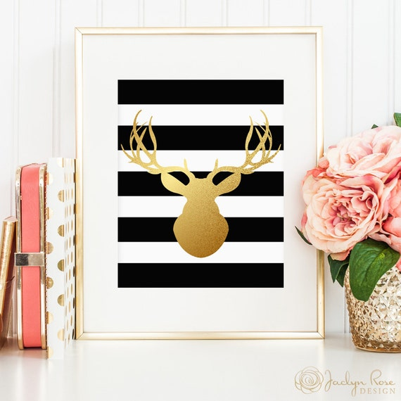 Deer head silhouette, printable wall art decor, faux gold foil black and white stripe design (Instant digital download - JPG)