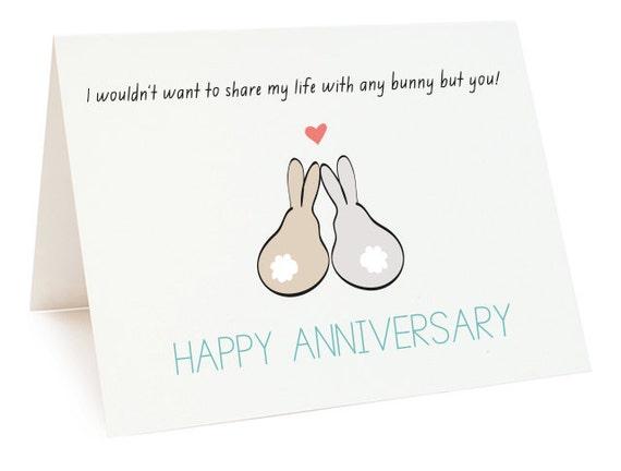 Happy Anniversary Bunnies Digital Card Printable Anniversary – Print Your Own Anniversary Card