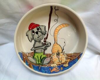 "Hand Painted Ceramic Pet Bowl - ""Pier Pressure"""