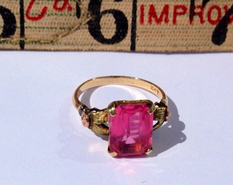 Pink, Yellow, Green, and Rose Gold Flower Ring