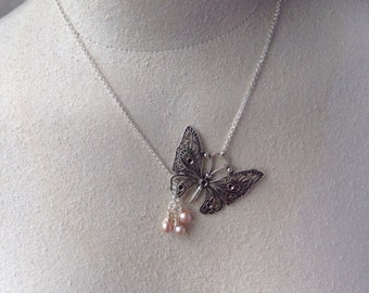 Butterfly and Pearl Necklace