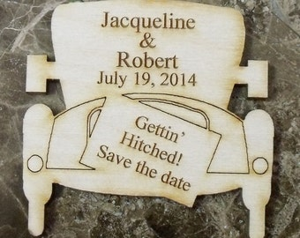 Save The Date Wedding Magnet - 50 Custom Rustic  Wedding Wood Favors - Old Car - Laser Wedding Magnet Favor Personalized engraved