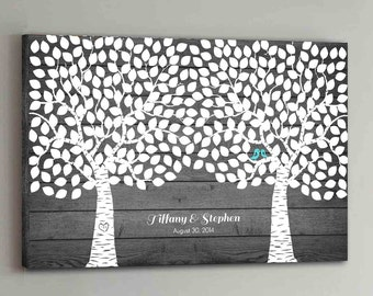 300 Guest CANVAS Wedding Guest Book Rustic Wood Two Double Tree Wedding Guestbook Canvas Alternative Guestbook Canvas Wedding Guestbk - Wood