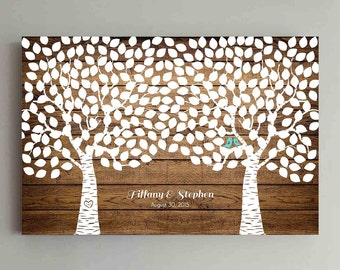 Wedding Guest Book Wood - 275 Guest - Two Double Tree Wedding Guestbook Alternative Guestbook Poster Wedding Guestbook Poster - Wood design