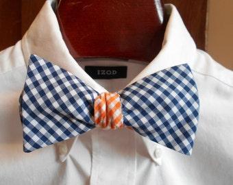 Bow Tie - Auburn Blue and Orange Gingham - Men's self tie