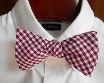 Bow Tie - Mississippi State Maroon Gingham  - Men's self tie