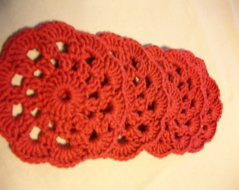 Crochet Cotton coasters Set of 4