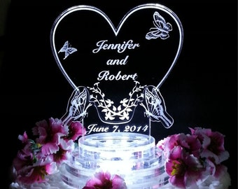 Butterfly Wedding Cake Topper - Light Up Cake Top - LED Cake Topper - Butterfly Heart Wedding Cake Top - Acrylic Cake topper