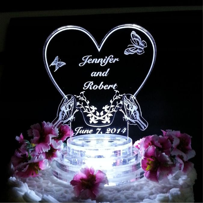 light up wedding cake toppers butterfly wedding cake topper light up cake top led cake 16877
