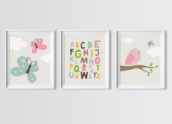 Nursery Wall Decor Set : Baby pink nursery wall art set instant download room