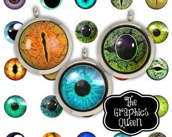 Animal Eyes Digital Eyes 1 inch Digital Collage Sheet Circle Instant Download Round Circles Printable Images Jewelry making