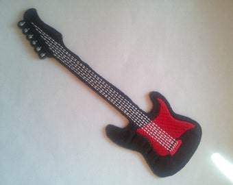 Electric Guitar Music Red Black applique iron on patch