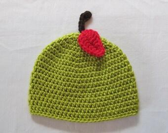 Crochet Green Apple Hat Baby Girl Boy Beanie Photo Prop