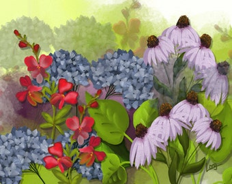 """Floral painting print, Original digital painting by Nancy Long, """"Garden"""". A colorful floral painting with a Summery feel.  Nancylongdesigns"""