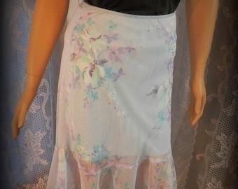 Vintage skirt, Womens skirt, Blue skirt, Floral skirt, Summer skirt