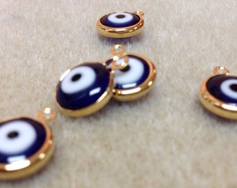 5 pcs Goldfilled 18k evil eye charm AP5445